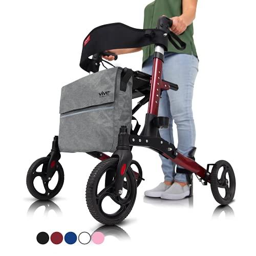 Vive Rollator Walker - Folding 4 Wheel Medical Rolling Walker with Seat & Bag - Mobility Aid for Adult, Senior, Elderly & Handicap - Aluminum Transport Chair (Red)