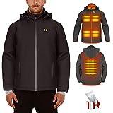Veste chauffante électrique pour hommes/femmes, Manteau chauffant USB rechargeable avec col chauffant, Veste chaude pour l'hiver ski moto randonnée pêche (Batterie non incluse /sortie 5V / 2A ou plus)