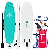 redder Inflatable Stand Up Paddle Board Zen 10'8' Yoga/All Round ISUP with Double Action Hand Pump, 3 Piece Fiberglass Paddle, 10' Leash, Backpack, Repair Kit, Non-Slip Deck, Carrying Shoulder Strap