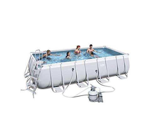 Bestway Frame Pool Power Steel Set, Gris Clair, Pompe à Filtre à Sable Rectangulaire + Accessoires 56466, Gris, 549 x 274 x 122 cm