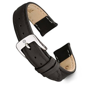 Speidel Genuine Leather Ladies Watch Band Black Brown White Stitched Calf Skin Replacement Strap,Stainless Metal Buckle,Watchband Fits Most Watch Brands (8mm-20mm)