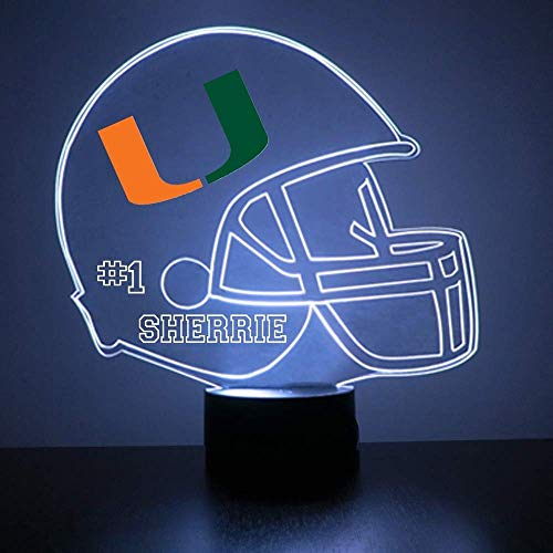 Mirror Magic Store Miami Hurricanes Football Helmet Sports Fan Lamp/Night Light - LED - Personalize for Free - Featuring Licensed Decal (Misc.)