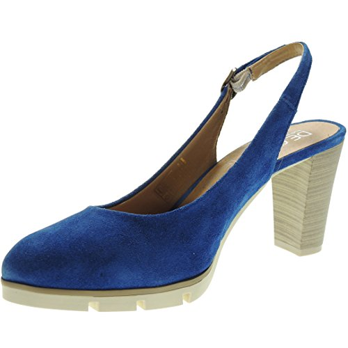 Desiree 2102 Zapato Descubierto Serraje Tacón Ancho 8CM para Mujer ELÉCTRICO Talla 41