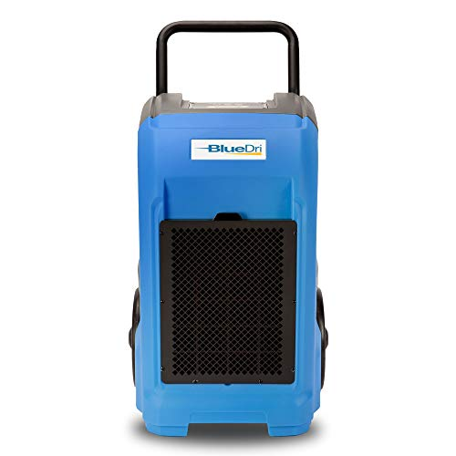 BlueDri BD-76 Commercial Dehumidifier for Home, Basements, Garages, and Job Sites. Industrial Water Damage Equipment - Pack of 1, Blue