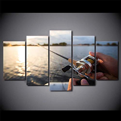 IKDBMUE 5 Pannelli Stampe su Tela Canna da Pesca di Tela in Mare Pittura Muro Immagini di Animali, Decorazione Moderna per la casa, Stampa Artistica