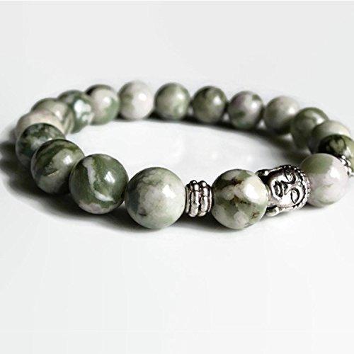 Mens bracelet, mens beaded bracelet, Green lotus jasper...