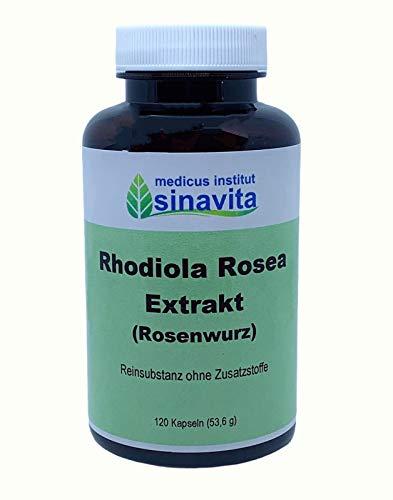Rhodiola Rosea Extrakt, Rosenwurz, 120 Kps, Reinsubstanz ohne Zusatzstoffe, vegetarische Kapselhülle, deutsche Produktion