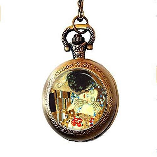 The Kiss by Gustav Klimt - Orologio da tasca con collana, idea regalo