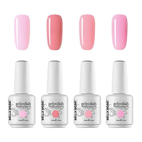 BELLA MODA 15ml Pink Color Series Gel Nail Polish Set Soak Off UV Led Lamp Lacquer Nail Art Kits Gel Polish BM-56