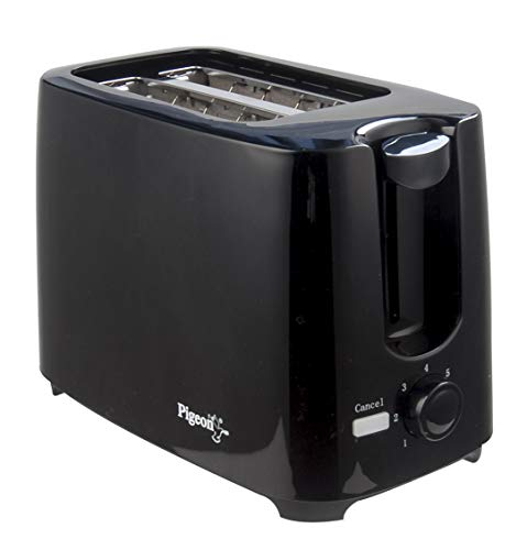 Pigeon 2 Slice Auto Pop up Toaster. A Smart Bread Toaster for Your Home (750 Watt) (Black)