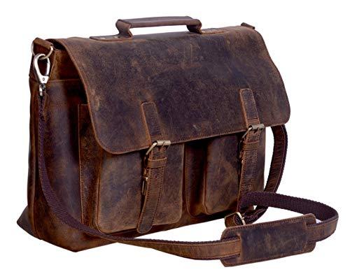 KomalC cuero maletín portátil bolsas para los hombres búfalo cuero mensajero bolsa oficina maletín universidad para 15.6 pulgadas portátil