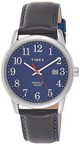 Timex Men's TW2R62400 Easy Reader 38mm Gray/Blue Leather Strap Watch