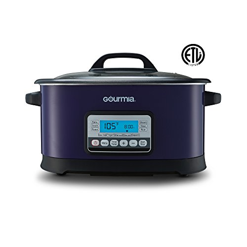 Gourmia GMC650 11 in 1 Multi Cooker + Sous Vide - LCD Display - Multiple Cooking Options - Bonus Accessories - Free Recipe Book - 6.5 Qt - 1500W - Purple/Stainless Steel