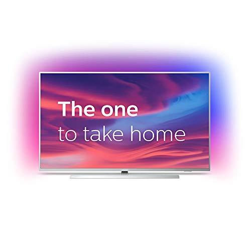 Televisor Philips Ambilight 50PUS7304/12 Smart TV de 126 cm (50 pulgadas) con 4K UHD, LED TV, HDR 10+, Android TV, Google Assistant, Dolby Atmos y compatibilidad con Alexa, color plata claro