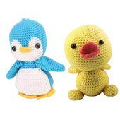 Conjunto de 2 kits de crochê de animais amigurumi da menolana, pacote de material diy para pato e pinguim