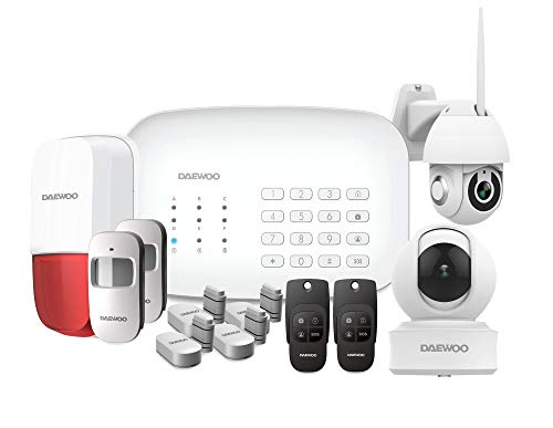 DAEWOO Pack Premium   Alarme Maison sans Fil WiFi/GSM connectée   Sirène extérieure   1 Caméra   Compatible avec Amazon Alexa, l'Assistant Google