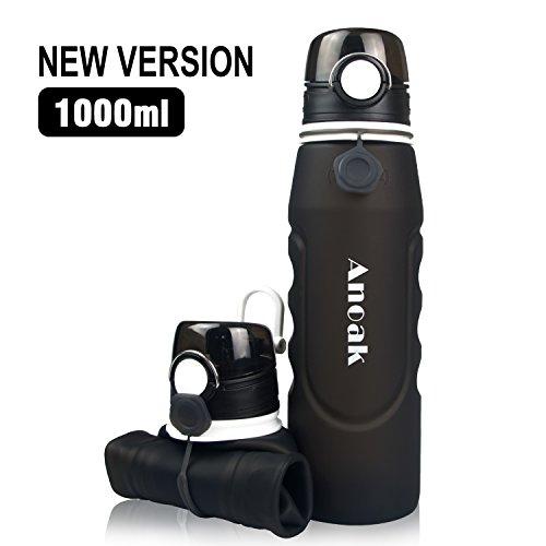 Anoak - Bouteille d'eau pliable 1000ML bouteille de sport pour le camping,...