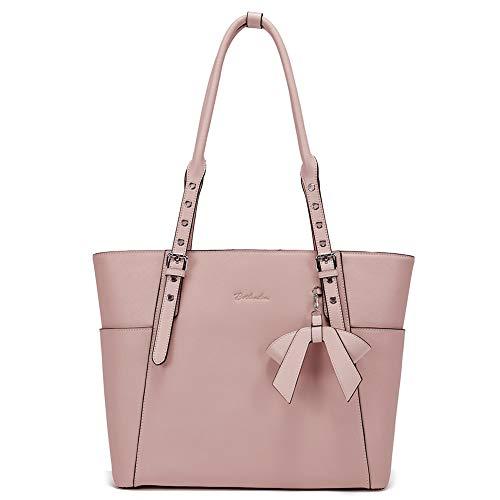 """BOSTANTEN Leder Businesstasche Damen Handtaschen Schultertasche Umhängetasche 15.6\"""" Laptoptasche Designer Tote Bag Rosa"""