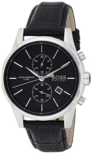 Hugo Boss Herren Chronograph Quarz Armbanduhr mit Lederarmband 1513279