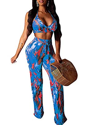Detials:2 Piece Outfits for Women/Floral print/Sexy Halter Bikini Tops/Knot Back/Floral Loose Long Pants. The two piece outfits for women is great for party,club,beach wear,cruise,vacation,or just daily casual wear,perfect for summer. Sexy top above ...