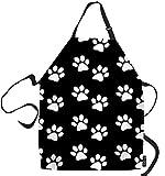 SSOIU Dog Paw Cooking Apron, Dog Paw Prints Black White Kitchen Apron for Baking/BBQ Men Women Unisex Waterproof 31X27 Inches