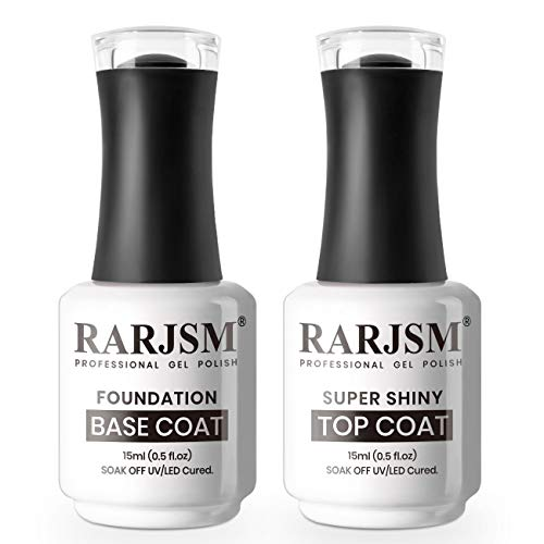 RARJSM Gel Top Coat Nail Polish Set Gel Base and Top Coat 2PCS 15ML Glossy Top Coat Long Lasting UV LED Lamp Cured Gel Nail Polish for Nail Art Salon DIY at Home