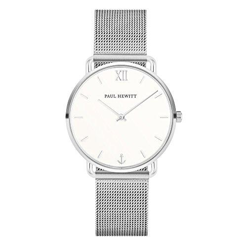 PAUL HEWITT Armbanduhr Damen Miss Ocean White Sand - Damen Uhr (Silber), Damenuhr Edelstahlarmband in Silber, weißes Ziffernblatt