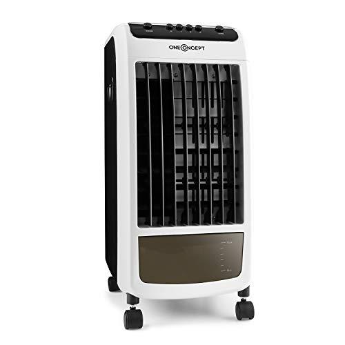 OneConcept CarribeanBlue - Rafraichisseur d'air, Ventilateur, Refroidisseur, 3 en 1, Jusqu'à 400m³/h, 3 Vitesses, Réservoir de 4L, Faible consommation : 70 Watts - Blanc