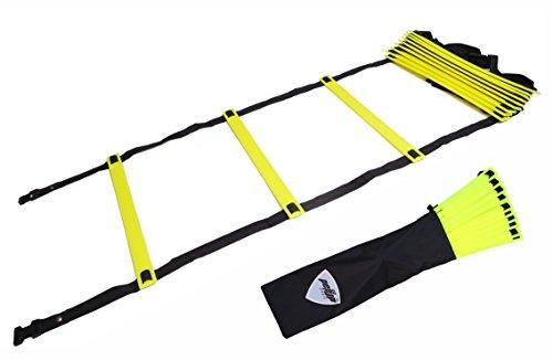 Pepup Koordinationsleiter für Koordinations- und Schnellkrafttraining, extra flach, 16Sprossen, verstellbar, Gelb, 8m