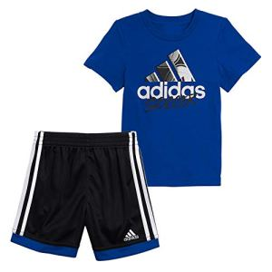 adidas Boys Sleeve Cotton Tee & Sports Shorts Clothing Set