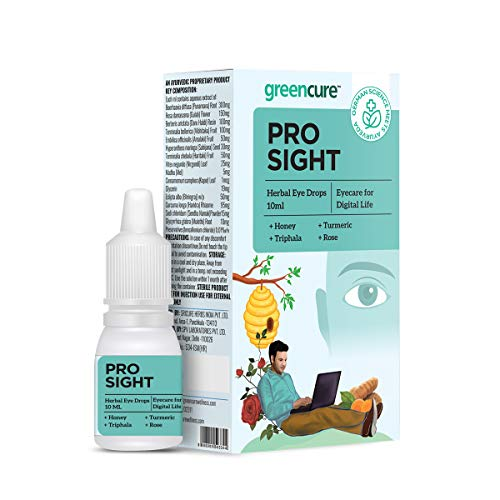 Green Cure Prosight Herbal Eye Drops with Honey, Turmeric, Triphala & Rose, Eye Care for Digital Life, Relieves Dryness, Strain & Irritation, AYUSH Ministry Certified -10ml (Pack of 1)
