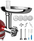 X Home Universal Food Grinder Attachment for KitchenAid Stand Mixer Include Sausages Stuffing Tubes, Durable Metal Meat Grinder with 4 Plates Can Grind Hard Cheese, Meat, Vegetable