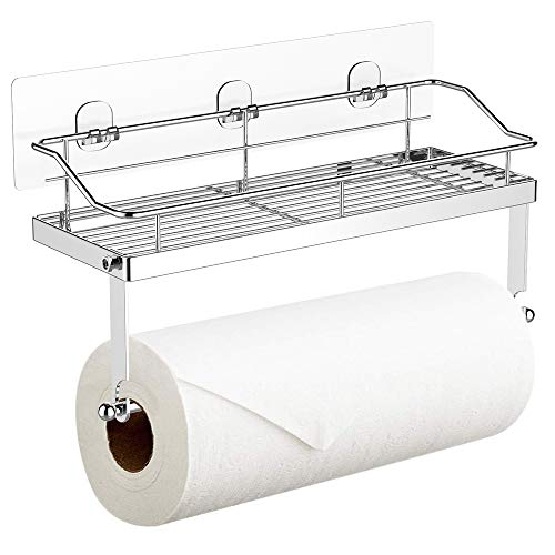 Paper Towel Holder with Shelf Storage, Wall Basket for Kitchen &...