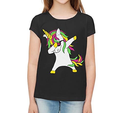 para Chica, Camiseta con Estampado de Unicornio, Top de Manga Corta (7-8 años, Negro)