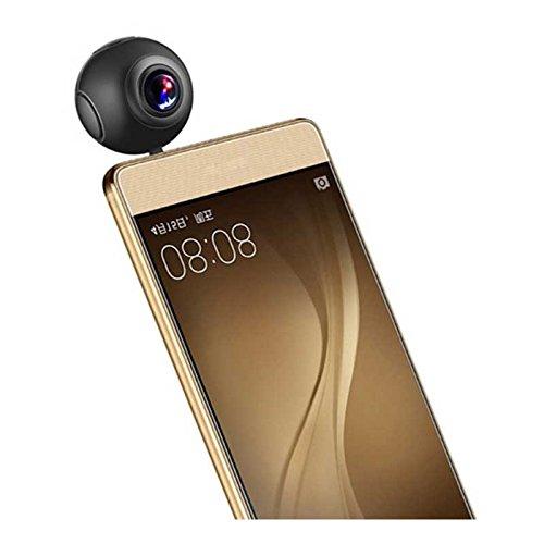 Telecamera HD, 720gradi, 2048x 1024,doppia lente, fisheye, panoramica, sostegno VR Mode 360,Action Camera, per telefoni Android