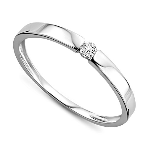 Orovi anillo de señora solitario 0.05 Ct diamantes en oro blanco de 9k ley 375
