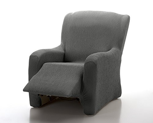 textil-home - Funda de Sillón Elástica Relax Completo Marian, Funda para Sofa - Tamaño 1 Plaza Desde 70 a 100Cm. Color Gris