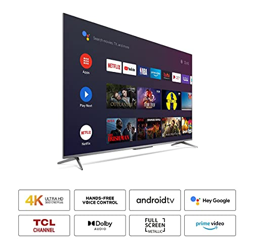 41a32z4yjOS TCL 139 cm (55 inches) AI 4K Extremely HD Licensed Android Sensible LED TV 55P715 (Silver) (2020 Mannequin)   With Distant Much less Voice Management