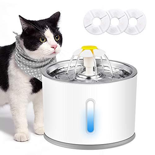 solawill Katzen Trinkbrunnen, Trinkbrunnen für Haustiere mit LED-Licht Leise...