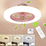 SLZ Ceiling Fan with Lighting, LED Fan Ceiling Fan, 36 W, Ceiling Lighting, dimmable with Remote Control, 3 Files, Adjustable Wind Speed, Modern bedroom58CM,Pink