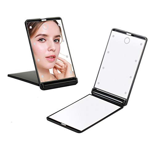 Feruaro Travel Mirror, Portable LED Lighted Makeup Mirror with 8 Dimmable Led Lights, Touch Switch Travel Makeup Mirror, Folding Compact Mirror 1X & 2X Magnification