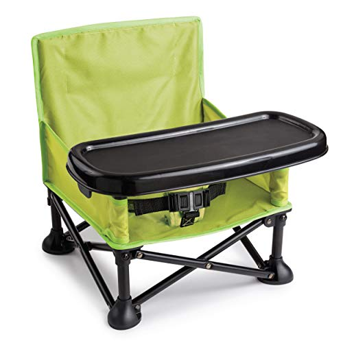 Summer Pop n Sit Booster Seat, Green  Booster Chair for Indoor/Outdoor Use  Fast, Easy and Compact Fold, Can be Used as a Portable Highchair  For 6 months to 4 years (up to 37 pounds)