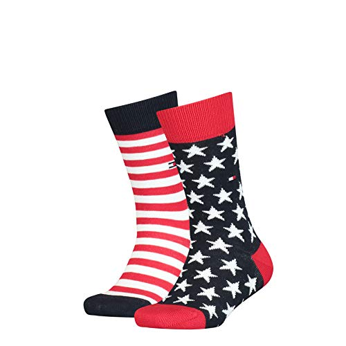 Tommy Hilfiger Stars And Stripes Kid's Socks (2 Pack) calze, Tommy Original, 35/38 (Pacco da 2) Unisex-Bambini