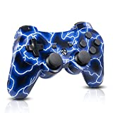 OUBANG Wireless PS3 Controller Compatible with Playstation 3 System,Best DS3 Remote Gift for Kids,Girls with Double Shock and Charging Cable(Spark Blue)