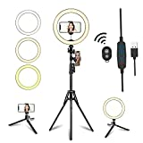 10.2' LED Selfie Ring Light with Tripod Stand & Phone Holder for Live Streaming & YouTube Video,...