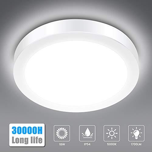 LED Deckenleuchte Bad, SOLMORE 18W IP54 Wasserfest 1700lm Badlampe, 5000K Kaltweiß LED Deckenlampe, Lampen Ideal für Badezimmer Schlafzimmer Flur Küche und Balkon, Ø230mm