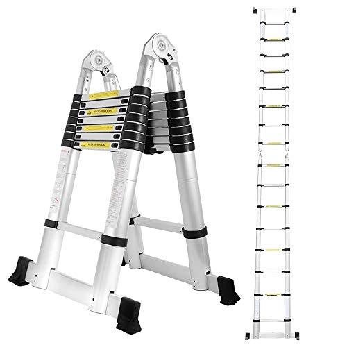 wolketon 5M(2.5+2.5M) Teleskopleiter Klappleiter, Groosse Anwendbarkeit Alu Multifunktionsleiter, Klappbar Leiter, 150 kg Belastbarkeit Leiter für Garten Haushalt
