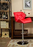 Finch Fox Revolving Swivel Contemporary Tufted Adjustable Height Hydraulic Bar Stools (Red Color)
