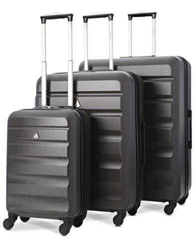 Aerolite Set di 3 Trolley in ABS, Valigie rigide e leggere con 4 ruote, 55cm Bagaglio a mano + medio...