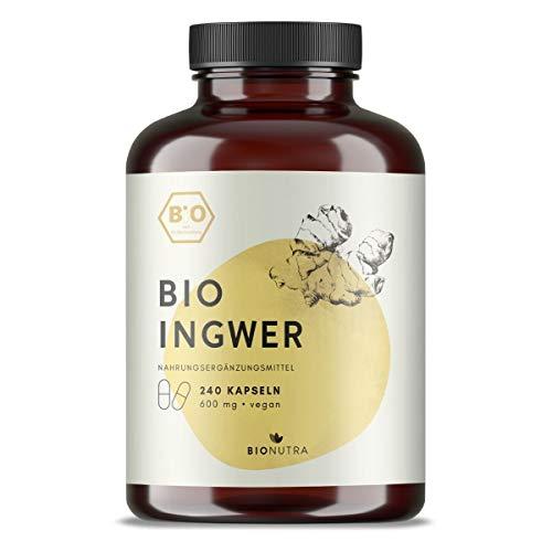BioNutra® Ingwer-Kapseln Bio (240 Kapseln mit je 600 mg), hochdosiert, Großpackung, deutsche Herstellung, vegan, biologische Rohstoffe ohne Zusätze